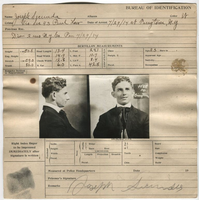 WACKY CRIMINAL PRISONER LOOKS HOPEFULLY TOWARDS JAIL MUG SHOT CARD 1914