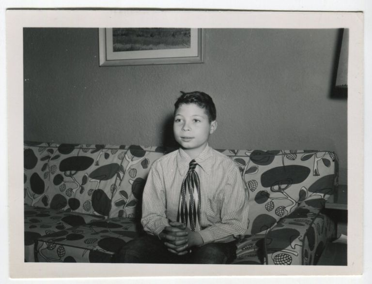 COOL PATTERNS on COUCH and BOY'S TIE SNAPSHOT PHOTO