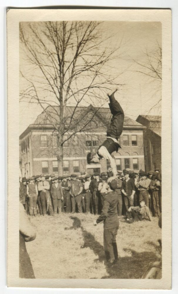 THE SCRAPPY FRAT BOYS SHOW THE CROWD THEIR GYMNASTICS VINTAGE SNAPSHOT PHOTO