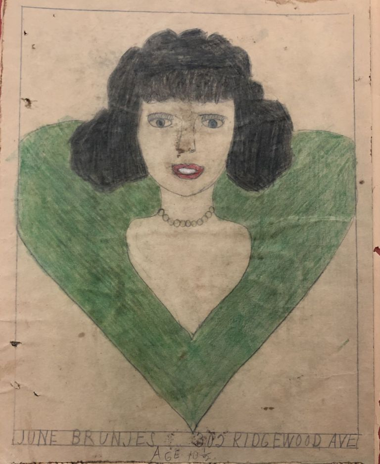 1937 ORIGINAL CHILD ART by 10 YEAR OLD BROOKLYN GIRL - REMINISCENT OF HENRY DARGER