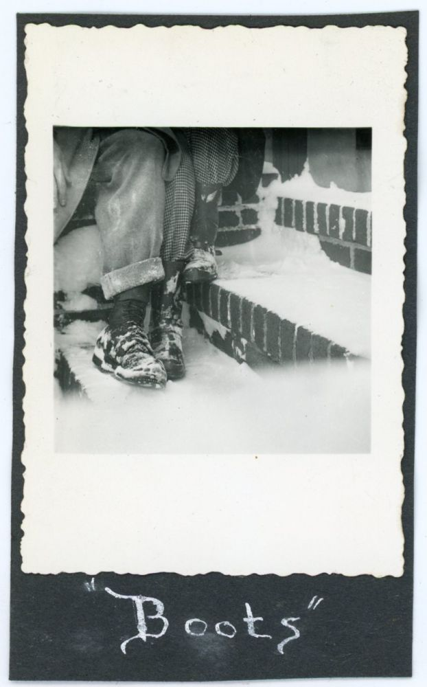 ABSTRACT VINTAGE SNAPSHOT PHOTO - BOOTS IN THE SNOW