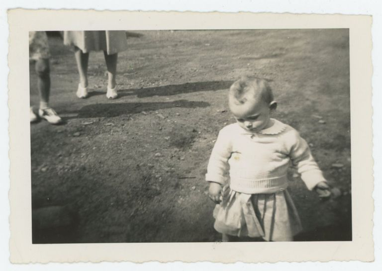 WANDERING TODDLER CONSIDERS THE GROUND VINTAGE SNAPSHOT PHOTO