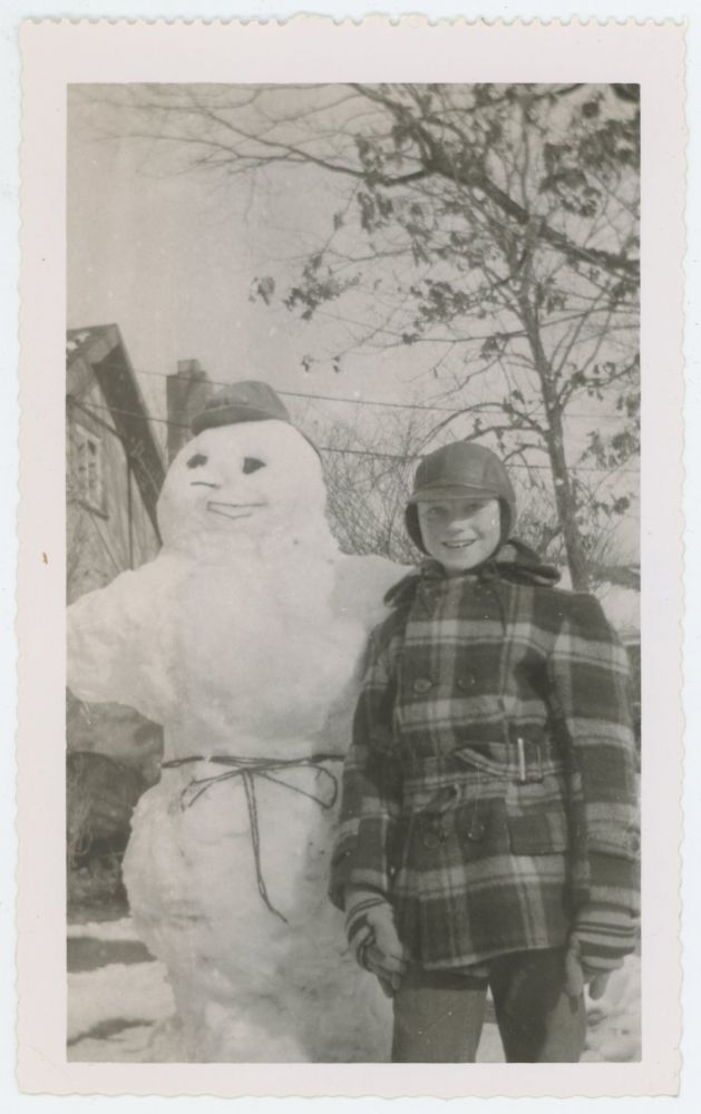 SNOWMAN AND HIS MAKER VINTAGE SNAPSHOT