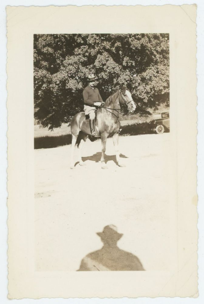 THE RIDER AND THE APPROACHING SHADOW VINTAGE SNAPSHOT PHOTO