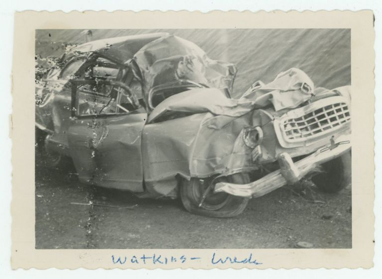WATKINS CAR WRECK VINTAGE SNAPSHOT PHOTO