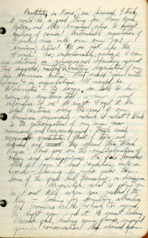 1926 HANDWRITTEN DIARY LONELY MAN TALKS OF PARIS PROSTITUTES AND VENEREAL DISEASE