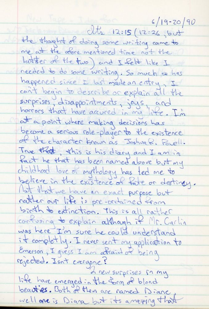 LATE 1980s - EARLY 1990s HANDWRITTEN DIARY by a YOUNG MAN - TEENAGE ANGST