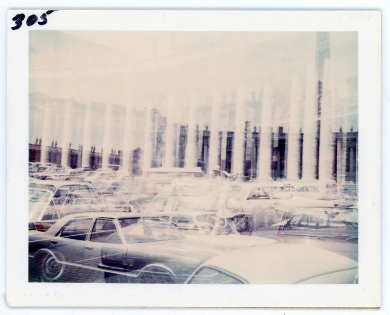 VINTAGE COLOR DOUBLE EXPOSURE POLAROID A SEA OF CARS