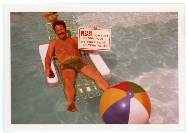 PLEASE DON'T PEE IN THE POOL VINTAGE COLOR SNAPSHOT PHOTO