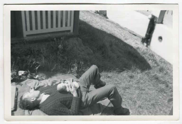 MAN AND HIS BABY DOLL NAP ON THE LAWN VINTAGE SNAPSHOT PHOTO