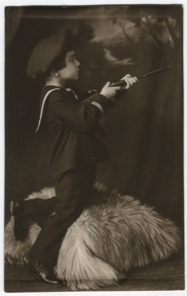 TINY SAILOR TAKES AIM VINTAGE STUDIO PORTRAIT REAL PHOTO POSTCARD