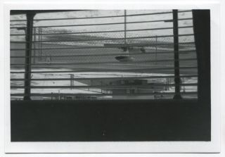 VIEW OF TRAILER PARK THROUGH VENETIAN BLINDS SNAPSHOT PHOTO
