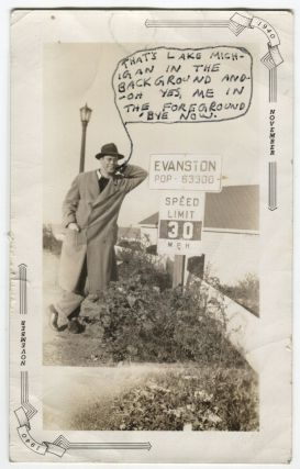 MAN TALKS THROUGH HAND WRITTEN THOUGHT BUBBLE VINTAGE SNAPSHOT PHOTO