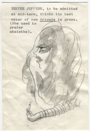 AUTHOR PAUL HORGAN FUNNY HAND-DRAWN ILLUSTRATIONS OF CAMPUS LIFE IN 1969