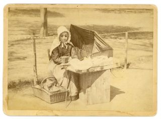 APPLE SELLER WOMAN ON BOSTON COMMON 1890 MOUNTED PHOTO