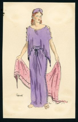 FASHION SKETCHES WATERCOLORS THROUGHOUT TIME 1942 STUDENT OF LUCILE HOWARD, FOUNDING MEMBER of PHILADELPHIA TEN - WOMEN ARTISTS