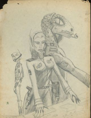 SCI-FI ORIGINAL COMIC ART FOLK ART MANUSCRIPT 1980s