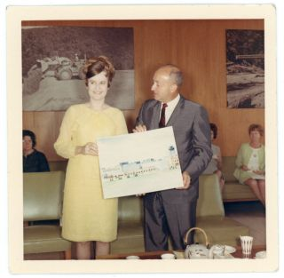 WOMAN & MAN HOLD ARCHITECTURAL DRAWING 1960s COLOR SNAPSHOT PHOTO