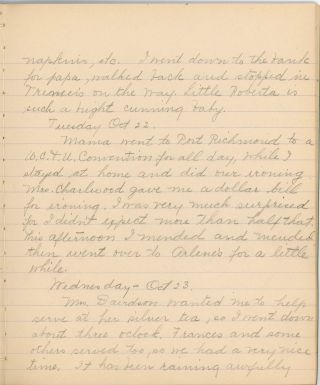 HANDWRITTEN DIARIES OF A YOUNG WOMAN MUSICIAN NYC 1912-1915