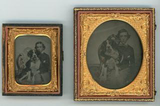 BOY and his DOG - TWO AMBROTYPE PHOTOS 9th and 6th PLATES