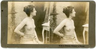 1890s TOPLESS NUDE WOMAN STEREOVIEW PHOTO