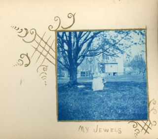NEWARK NY c.1900 CYANOTYPE PHOTO ALBUM w/ ARTISTIC DRAWINGS