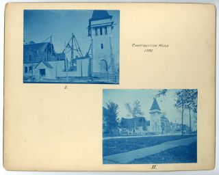 1894-1896 CYANOTYPE PHOTO LOT BUILDING AUSTIN, TEXAS PRESBYTERIAN CHURCH