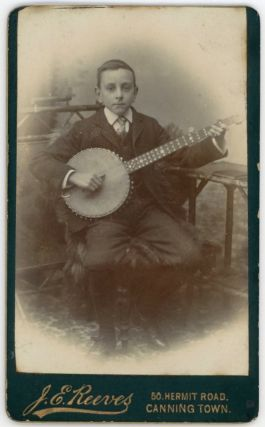 BOY MUSICIAN PLAYS THE BANJO CDV PHOTO 19th c