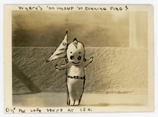 KEWPIE DOLL WARRIOR DOCTORED VINTAGE SNAPSHOT PHOTO