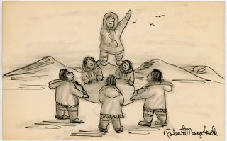 INUIT ESKIMO INK DRAWING of a BLANKET TOSS by ROBERT MAYOKOK