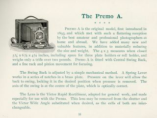 1897 PREMO CAMERA CATALOG ROCHESTER NY
