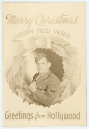 MERRY CHRISTMAS FROM HOLLYWOOD WWII era SOLDIER VINTAGE REAL PHOTO POSTCARD