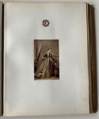 1860s ENGLISH VICTORIAN PHOTO ALBUM WITH HAND-TINTED PHOTOS and VICTORIAN CROSS