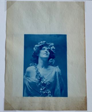 STUNNING c. 1900 CYANOTYPE PHOTO of a WOMAN with GARLAND