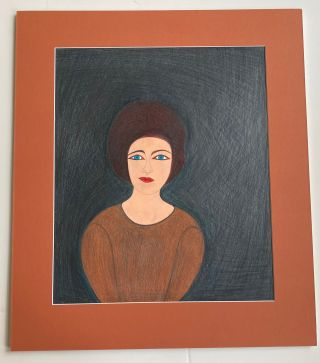 OUTSIDER ART COLOR PENCIL DRAWING 1960s SIGNED #1