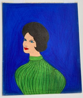 1960s OUTSIDER ART DRAWING of a WOMAN