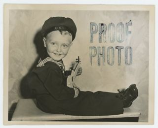 TINY SAILOR AND A UKELELE VINTAGE STUDIO PROOF PHOTO