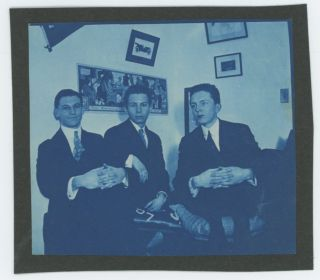 THREE DAPPER YOUNG MEN IN A DORM VINTAGE CYANOTYPE SNAPSHOT