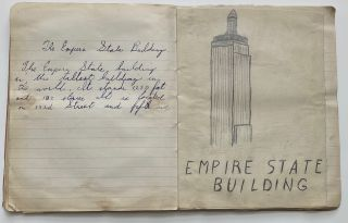 1944 CHILD'S SCHOOL NOTEBOOK of ART DRAWINGS - NYC