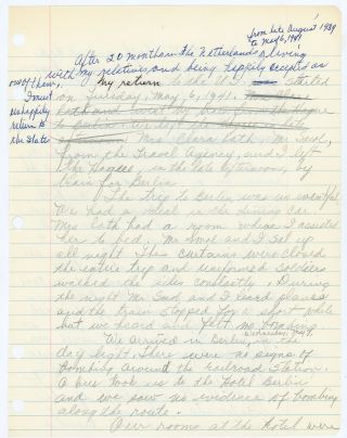 WWII HANDWRITTEN ACCOUNT OF DUTCH AMERICAN YOUNG WOMAN'S RETURN FROM HOLLAND TO MICHIGAN in 1941 - PHOTO ALBUM & More