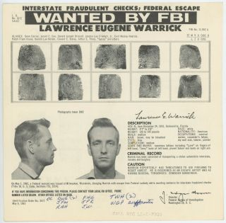 FBI WANTED MUGSHOT NOTICE MAILERS 1961 - 1963