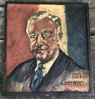 FOLK ART WOOD CARVING OF FDR FRANKLIN DELANO ROOSEVELT SIGNED 1933