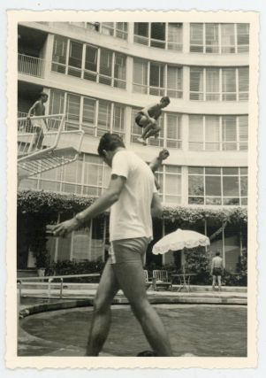 BOYS HIGH DIVE INTO POOL VINTAGE SNAPSHOT PHOTO LOT