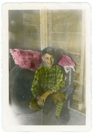 HAND-TINTED SNAPSHOT PHOTO BOY IN GREEN
