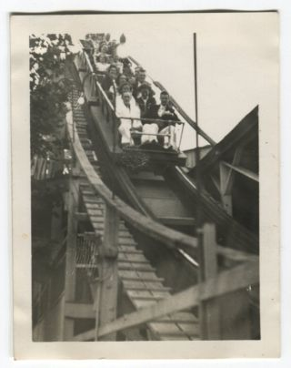 RIDING A ROLLER COASTER CAR VINTAGE SNAPSHOT PHOTO